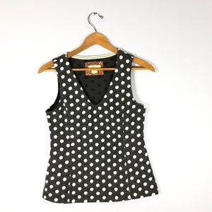 MAEVE Anthropologie Black Polka Dots Top   Size: S